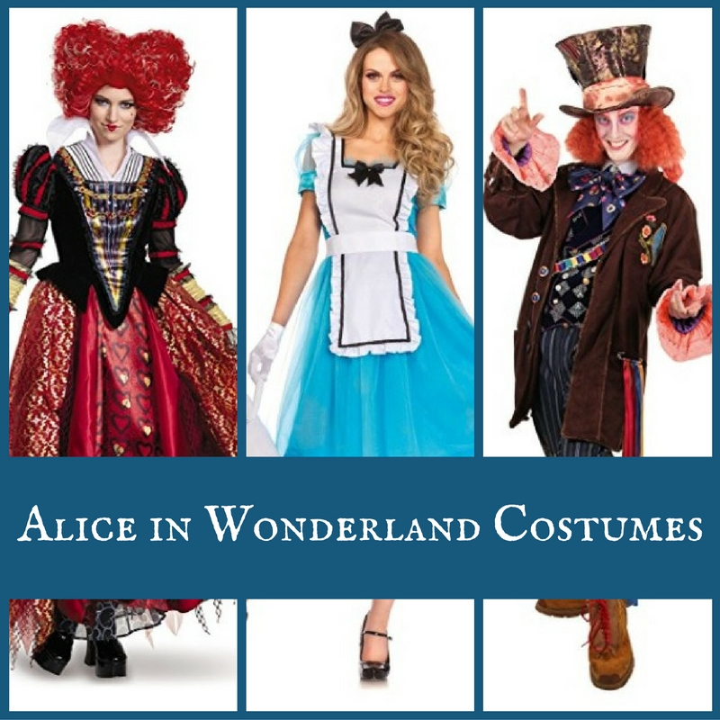 Alice in Wonderland Character Costumes Mad Hatter March Hare White Rabbit & Queens