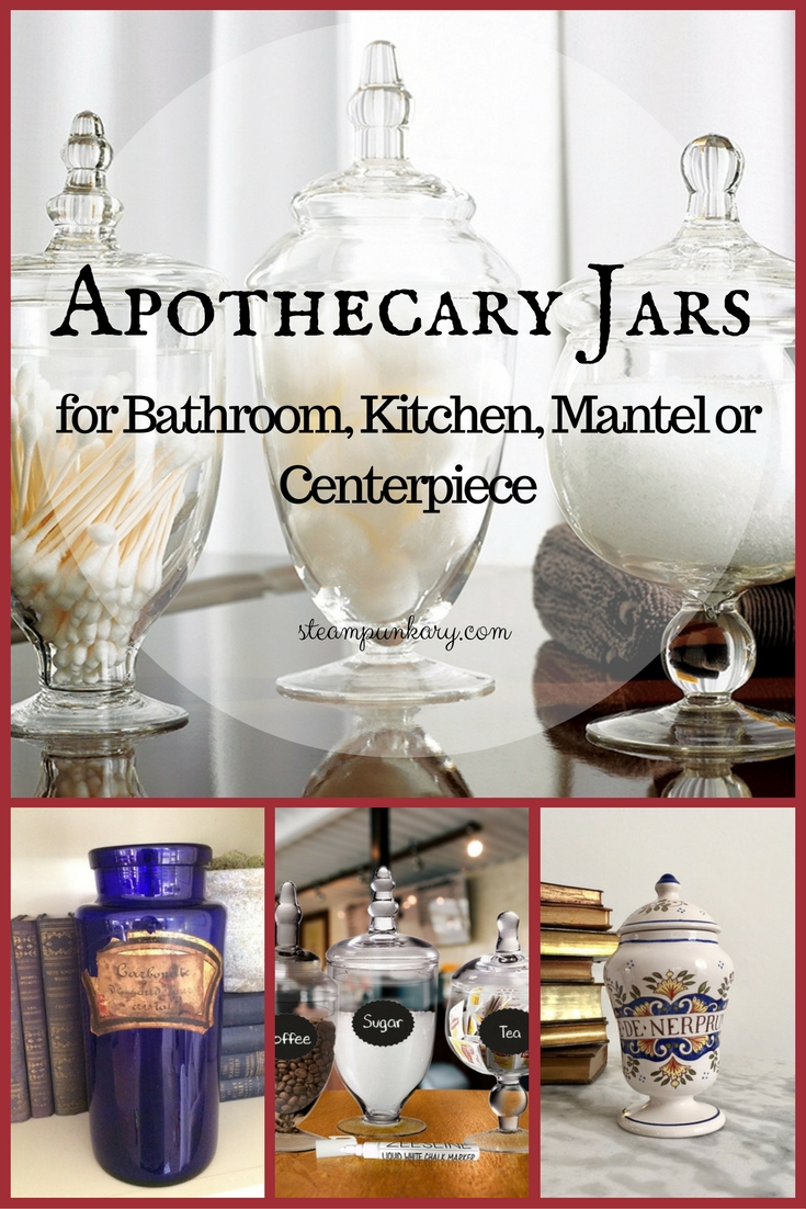 Apothecary Jars For Bathroom Kitchen Mantel Or Centerpiece