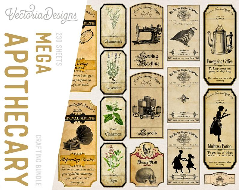 Printable Vintage Apothecary Labels for Halloween Year Round