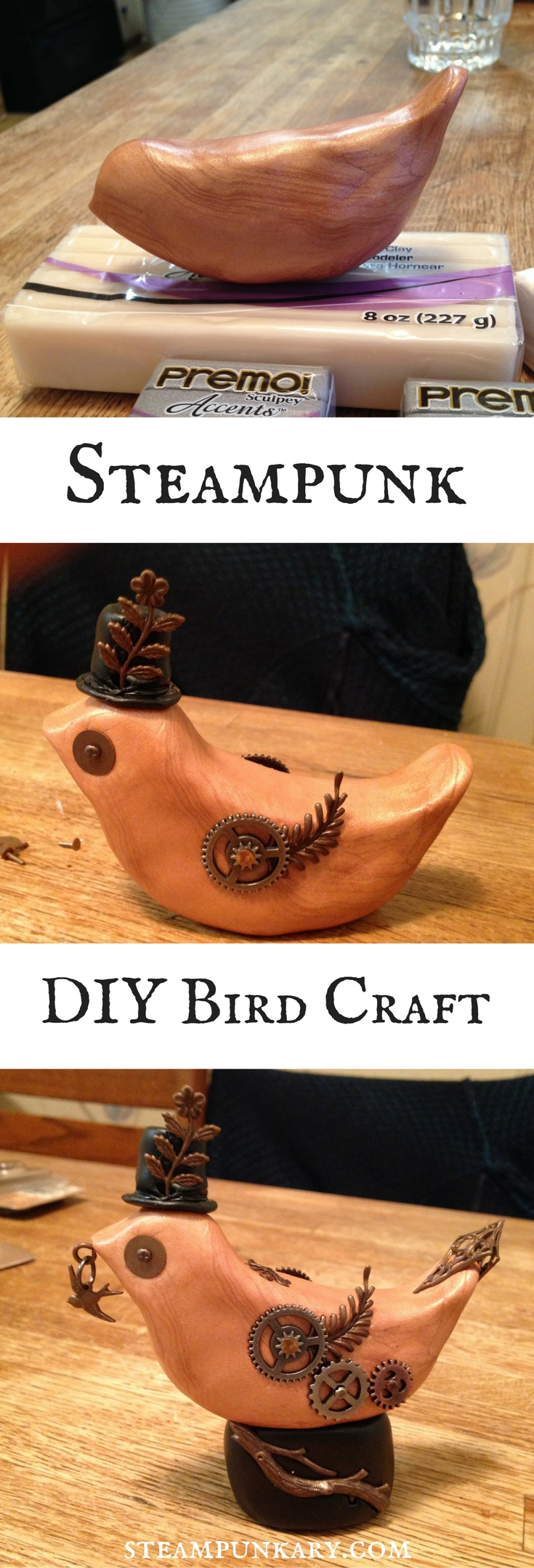 DIY Steampunk Sculpey Polymer Clay Bird Sculpture Craft