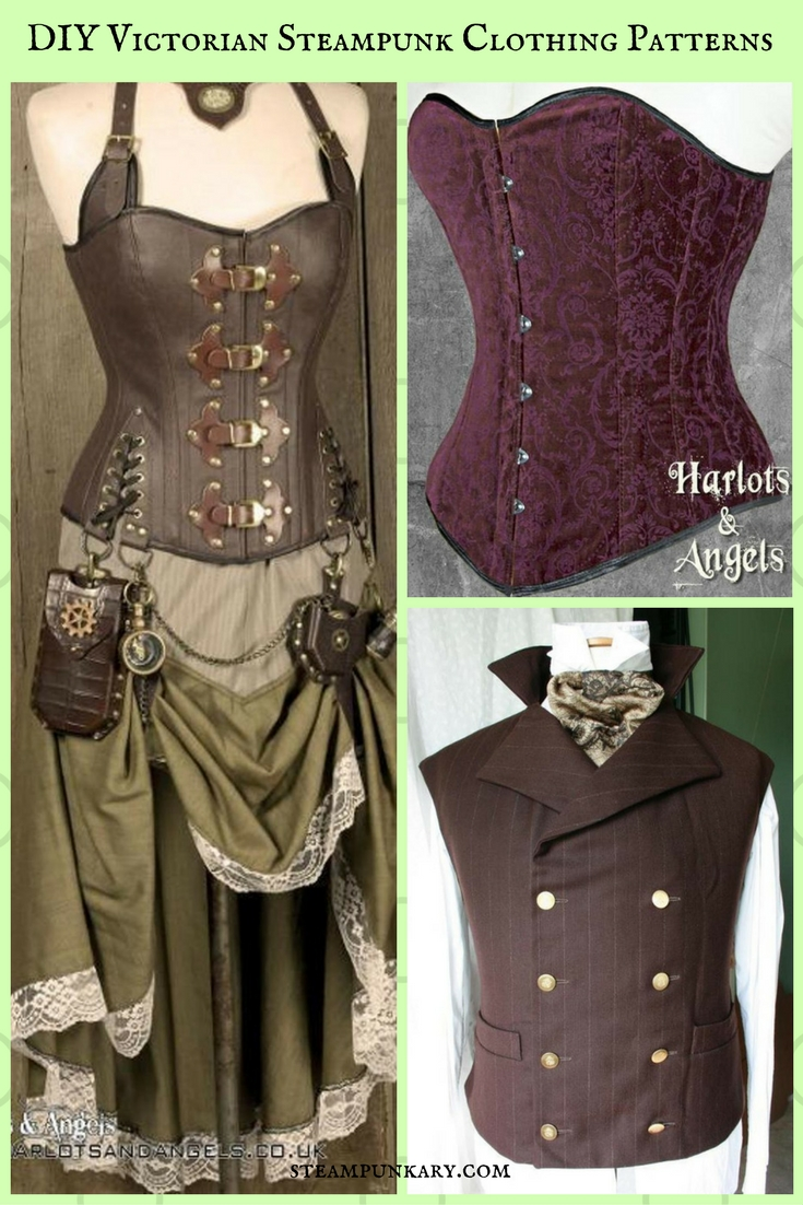 image relating to Printable Vest Pattern referred to as One of a kind Do it yourself Victorian Steampunk Garments Behavior against