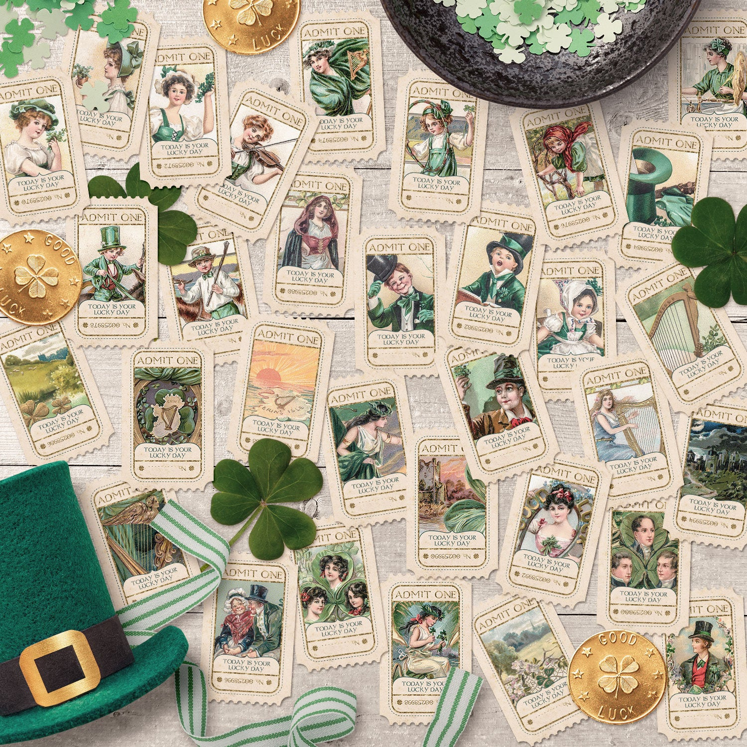 Printable Paper Ephemera Journal Kits for St. Patrick's Day