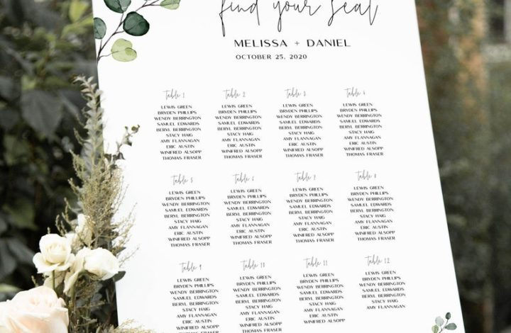 Personalized Wedding Guest Seating Chart