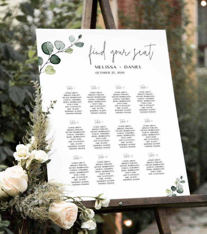 Personalized Wedding Seating Charts & Seating Chart Stands
