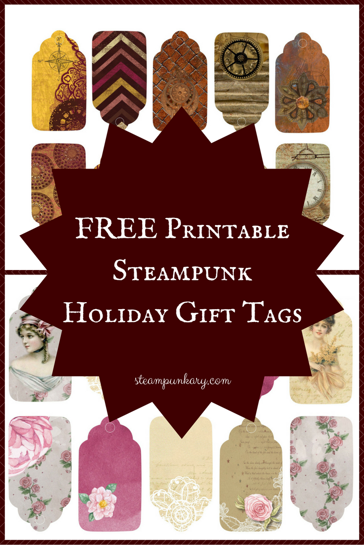 Free Printable Digital Download Steampunk Holiday Gift Tags