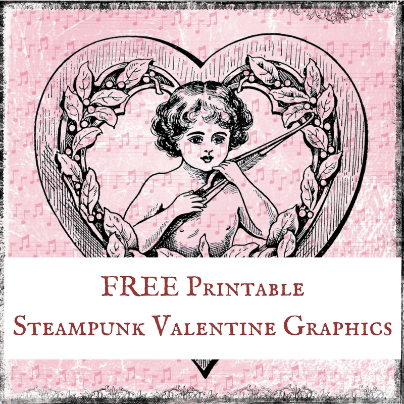 Free Printable Digital Download Steampunk Valentine Graphics