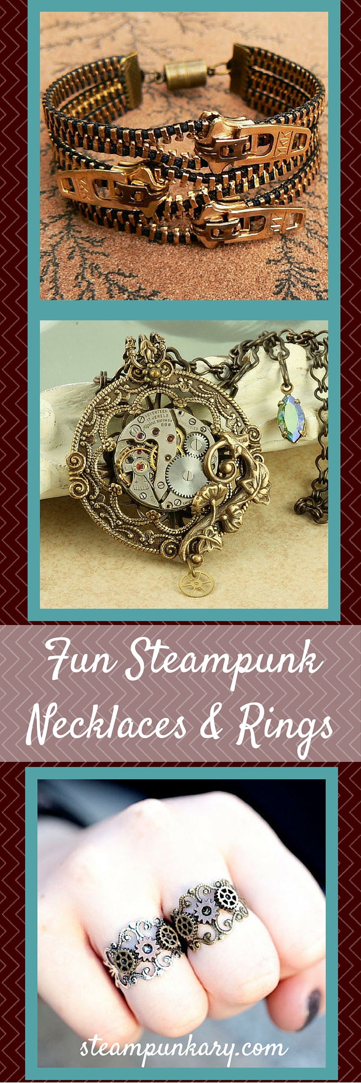 Fun Steampunk Necklaces & Rings