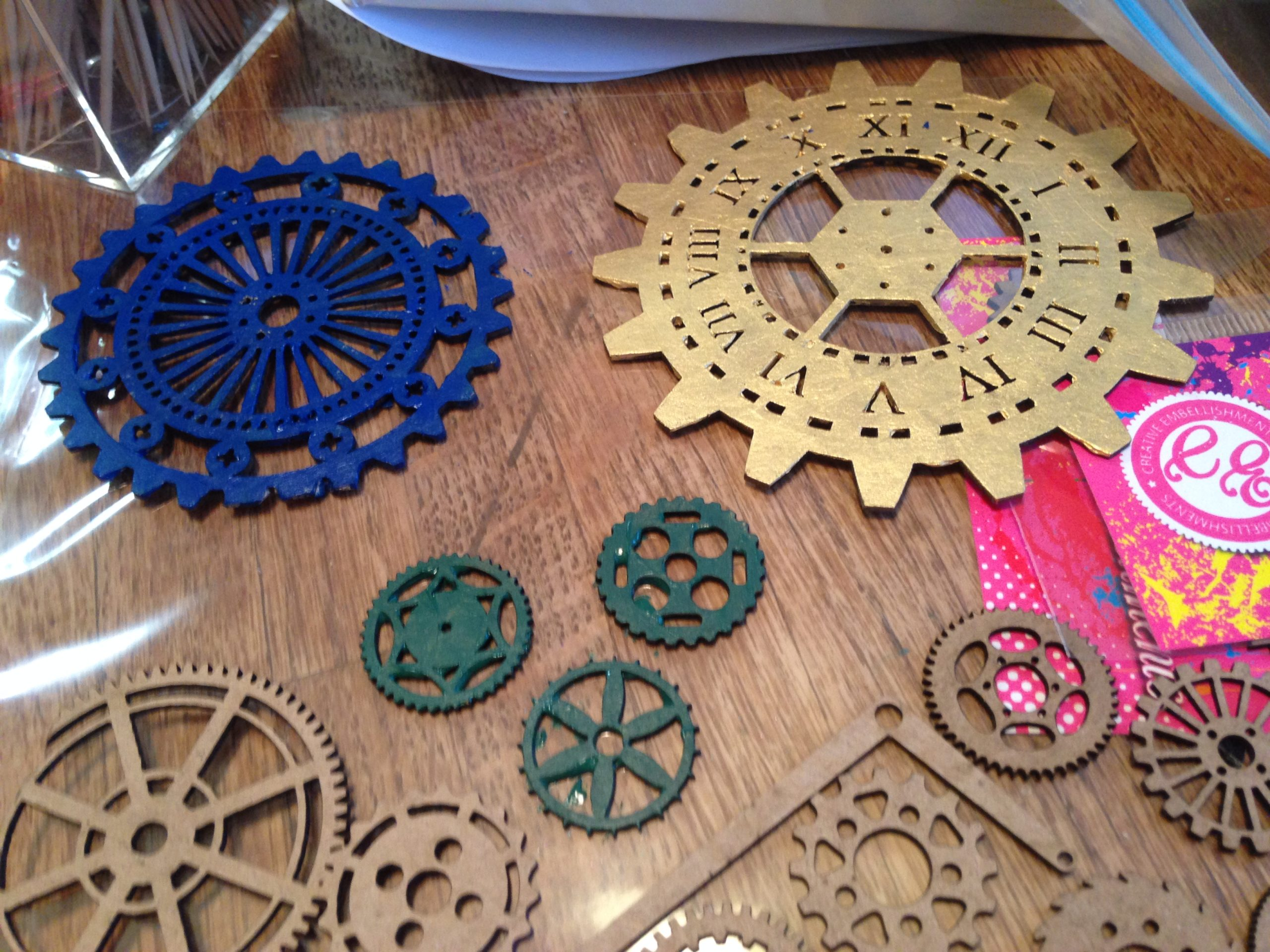 Gears Painted Before Gluing