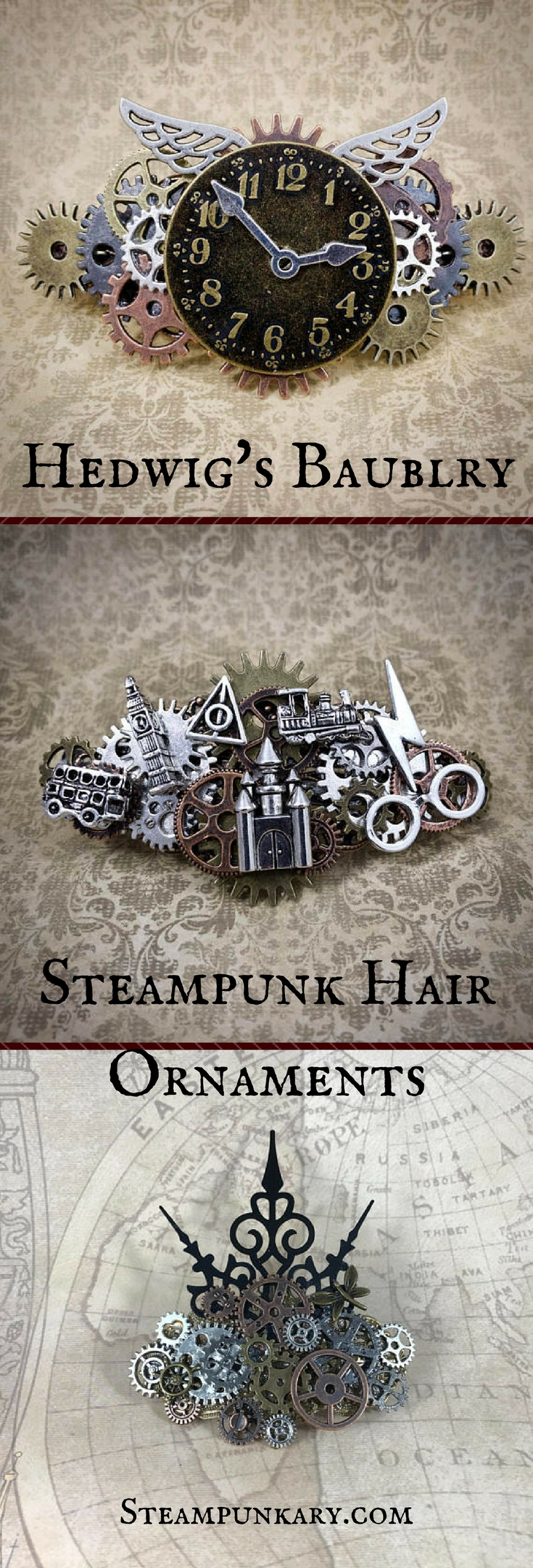 Hedwigs Baublry Steampunk Hair Ornaments