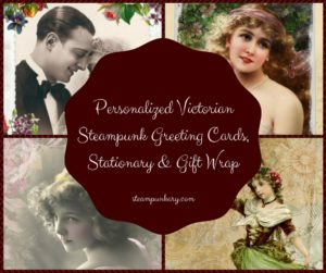 Personalized Victorian Steampunk Greeting Cards, Stationary & Gift Wrap