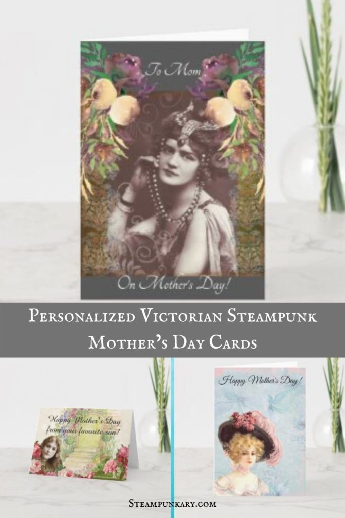 Personalized Victorian Steampunk Mother's Day Cards