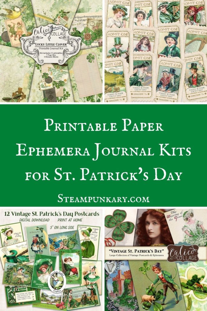 Printable Paper Ephemera Journal Kits for St. Patricks Day
