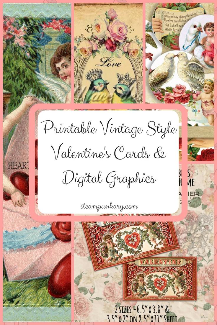 Printable Vintage Style Valentine's Cards & Digital Graphics