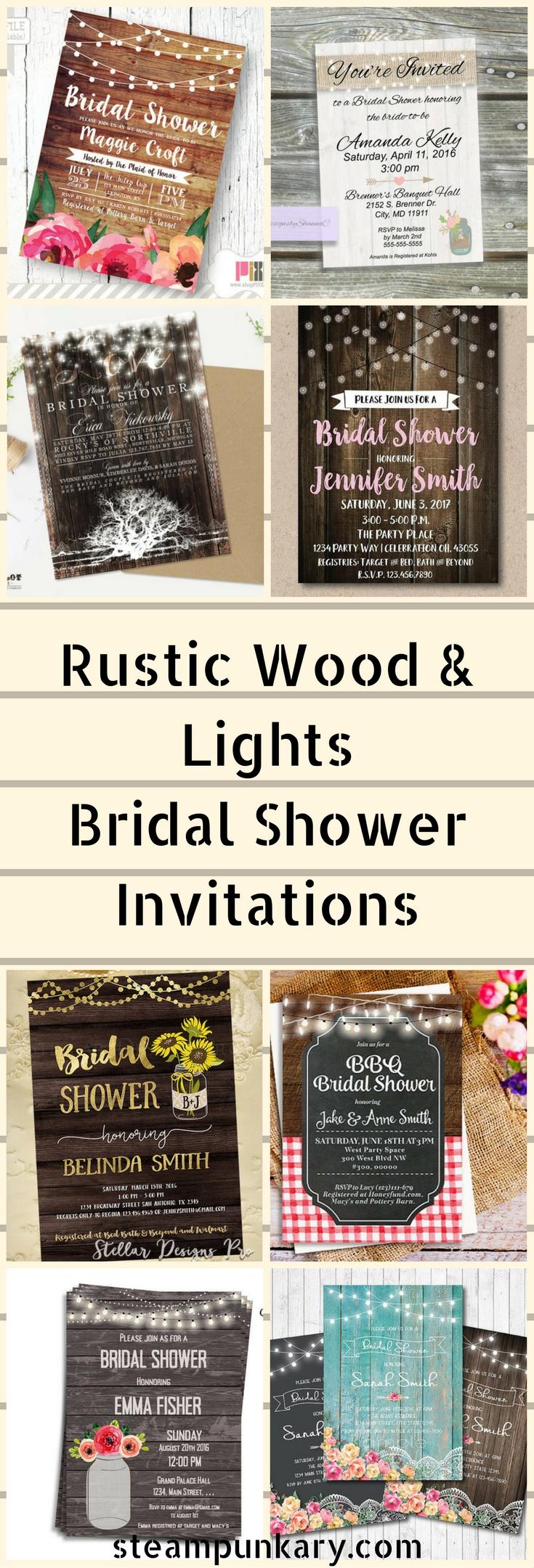 Rustic Wood & Lights Bridal Shower Invitations