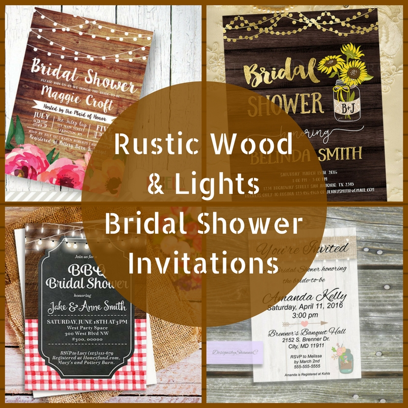 Rustic Wood & Lights Bridal Shower Invitations