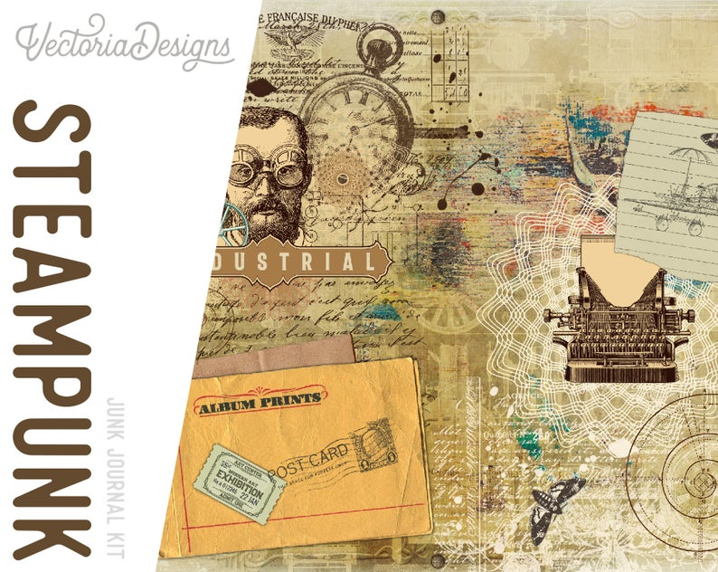 Printable Steampunk Vintage Junk Journal & Digital Paper Kits