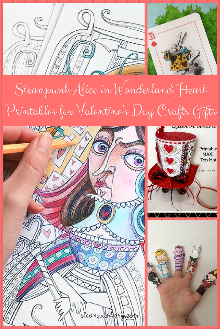 Steampunk Alice in Wonderland Heart Printables for Valentines Day Crafts Gifts