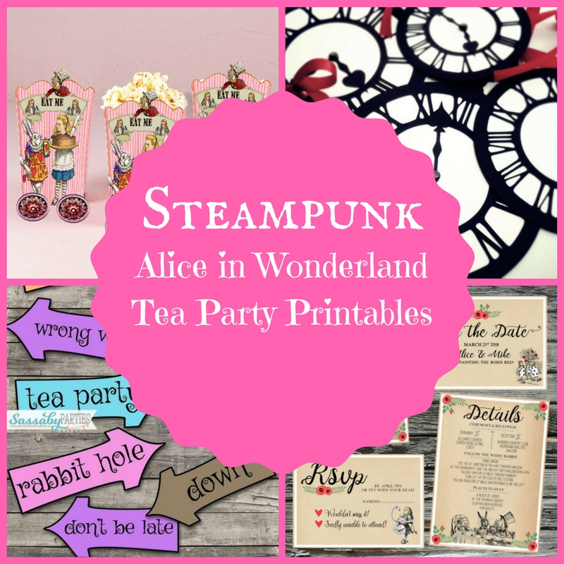 photograph about Alice in Wonderland Printable identified as Steampunk Alice in just Wonderland Tea Celebration Printables
