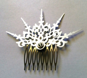 Steampunk Argent Fractals Hair Comb