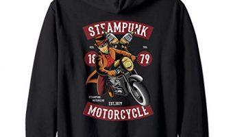 Steampunk Motorcycle Western Biker in Top Hat Goggles