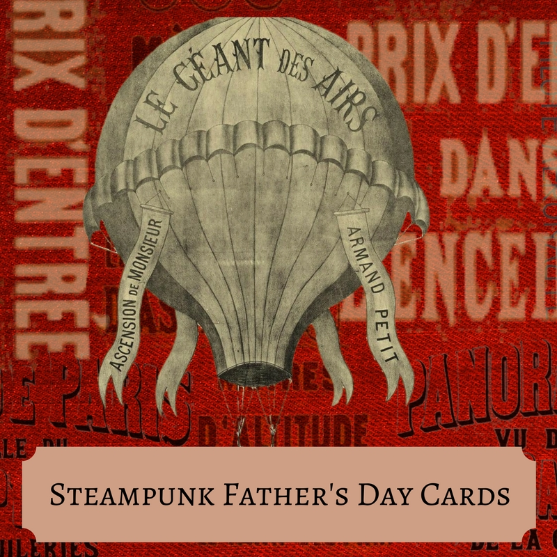 Steampunk Fathers Day Cards and Matching Wrapping Paper
