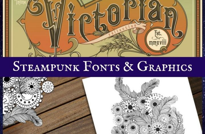 Steampunk Fonts & Graphics