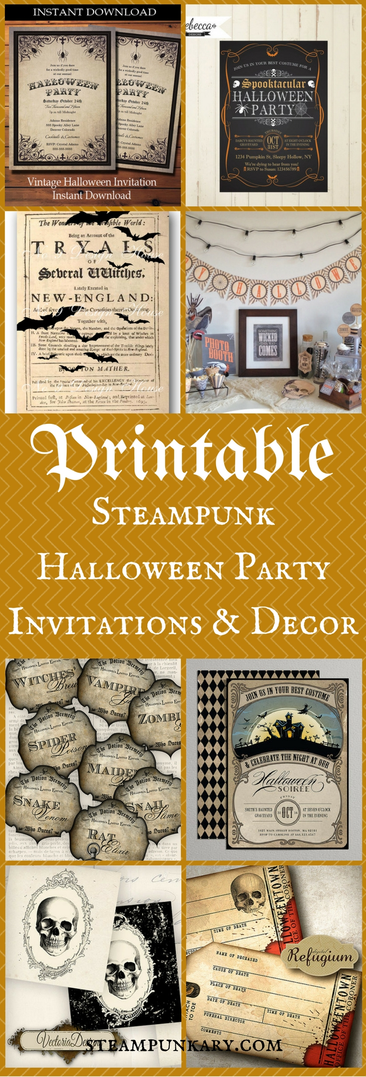 Printable Steampunk Halloween Party Invitations & Decor