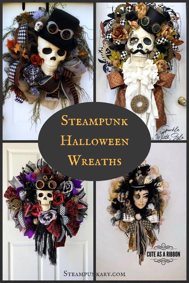 Steampunk Halloween Wreaths for Your Front Door