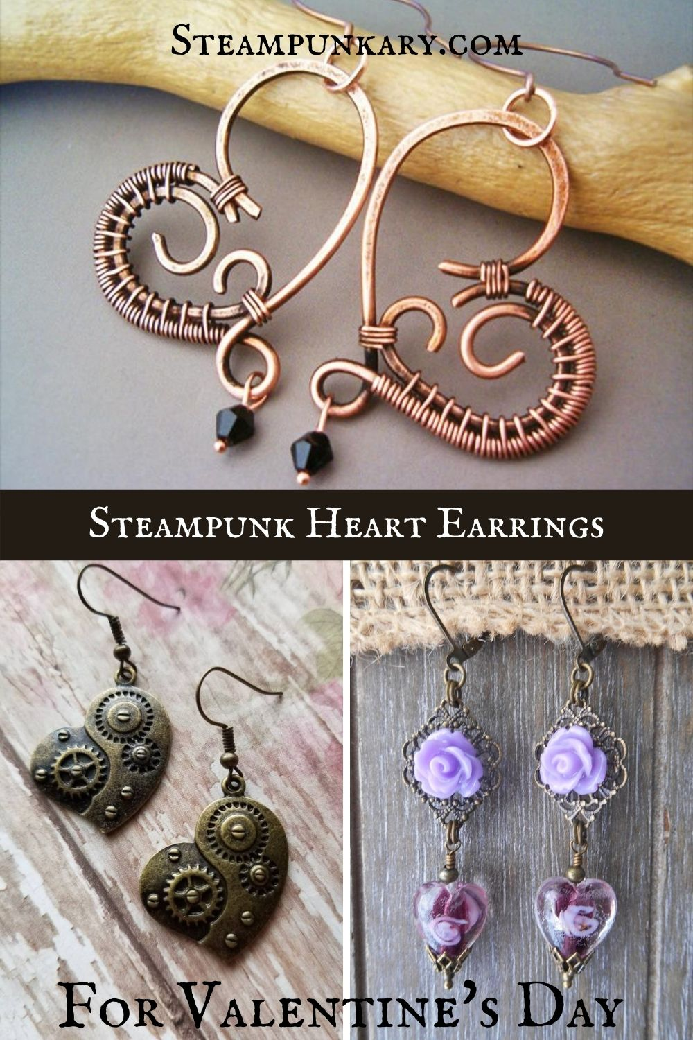 Steampunk Heart Earrings for Valentine's Day