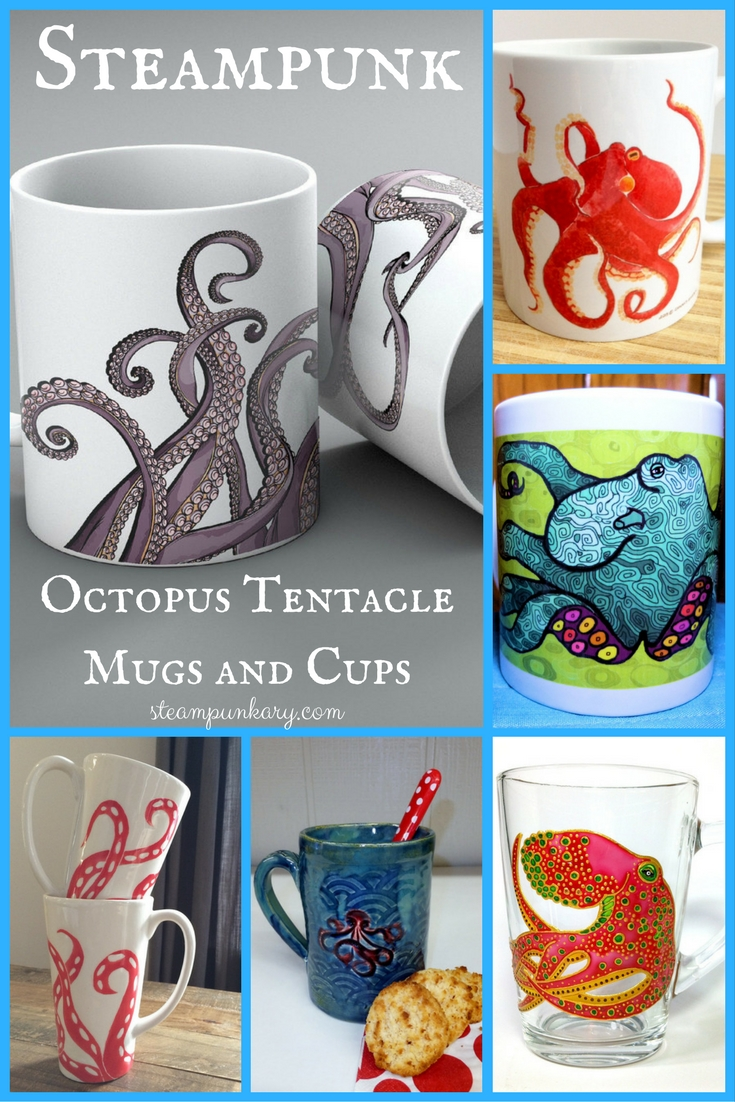 Laugh Out Loud Steampunk Octopus Tentacle Mugs and Cups