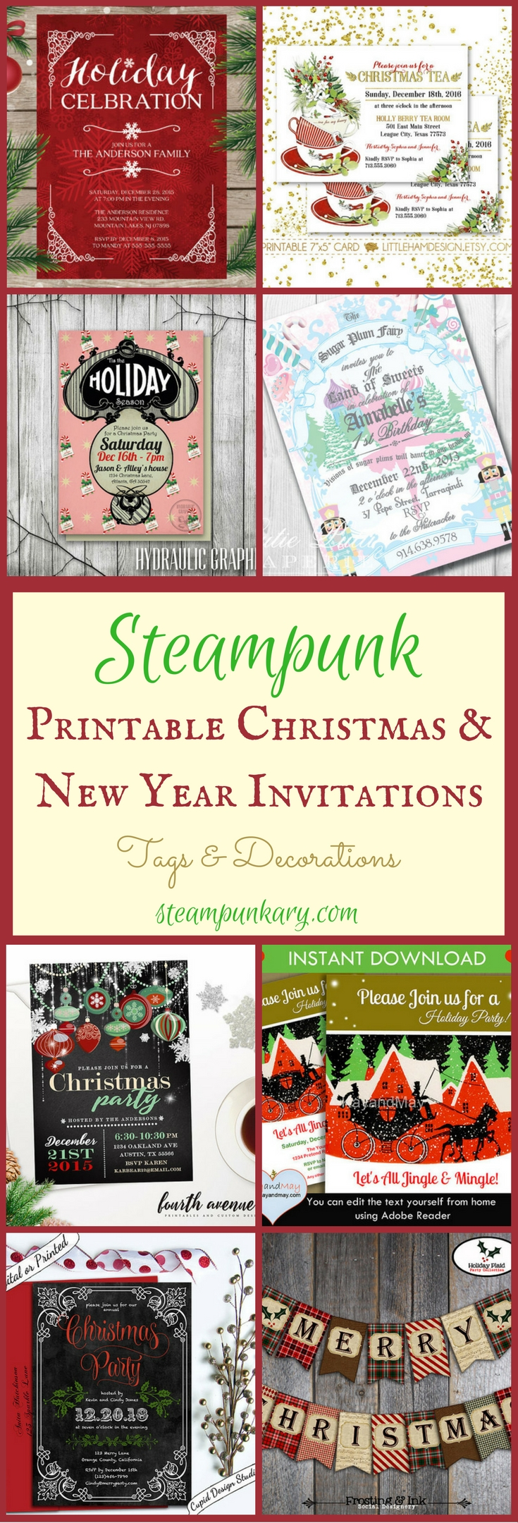 Steampunk Printable Christmas & New Year Invitations Tags & Decorations
