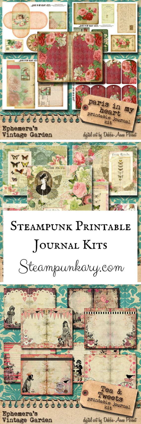 Printable Vintage & Steampunk Journal Kits