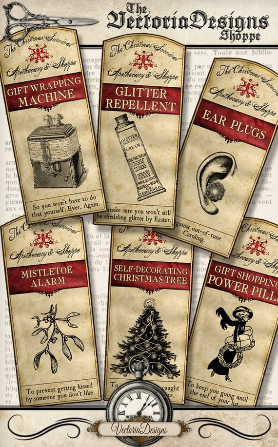 Victorian Steampunk Christmas Printables from Vectoria Designs