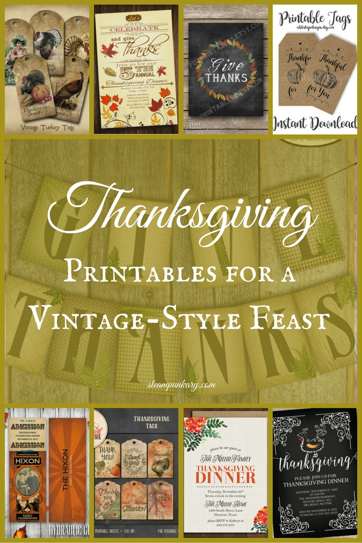 Thanksgiving Printables for a Vintage-Style Feast