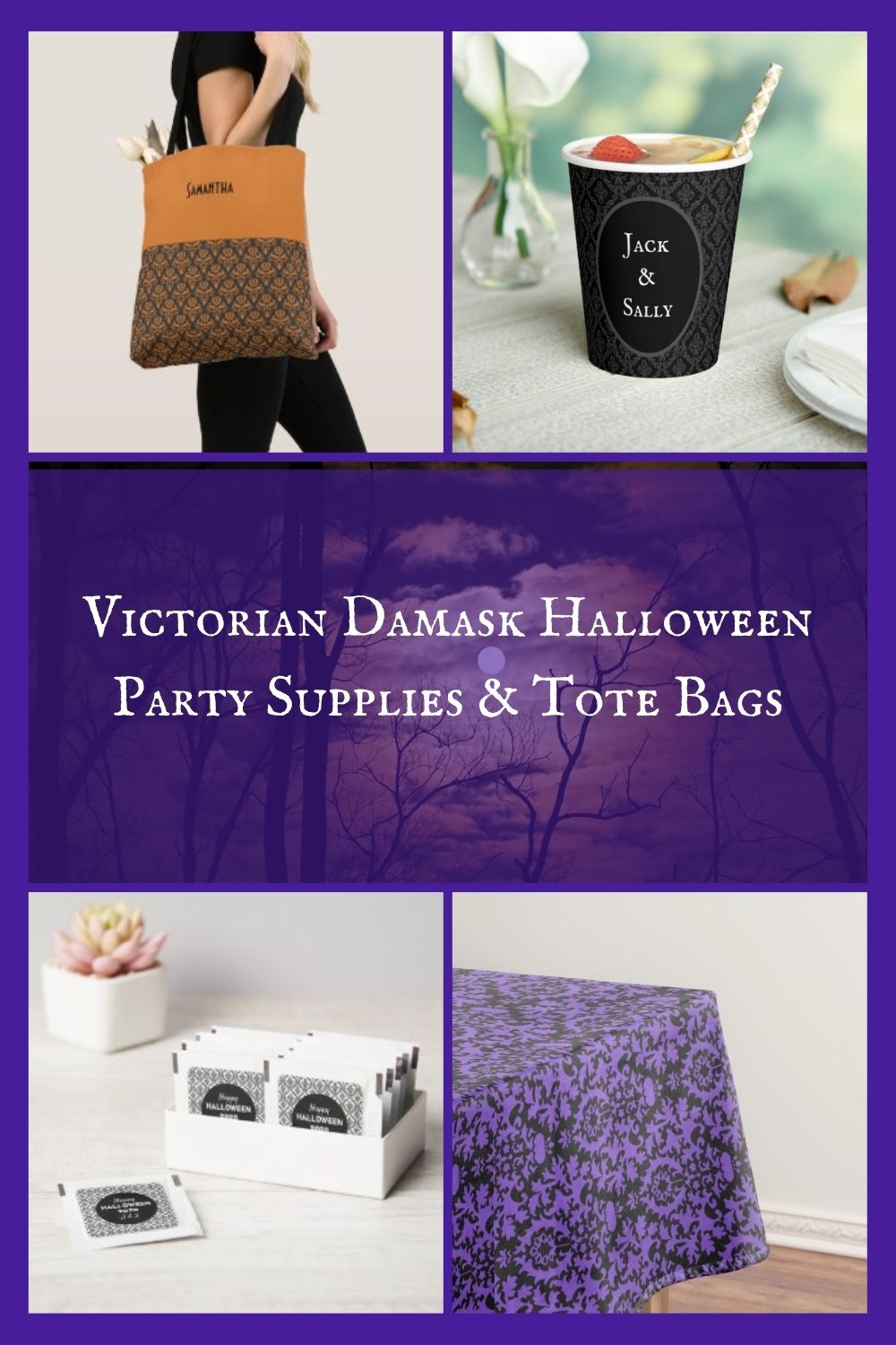 Victorian Damask Halloween Party Supplies & Tote Bags