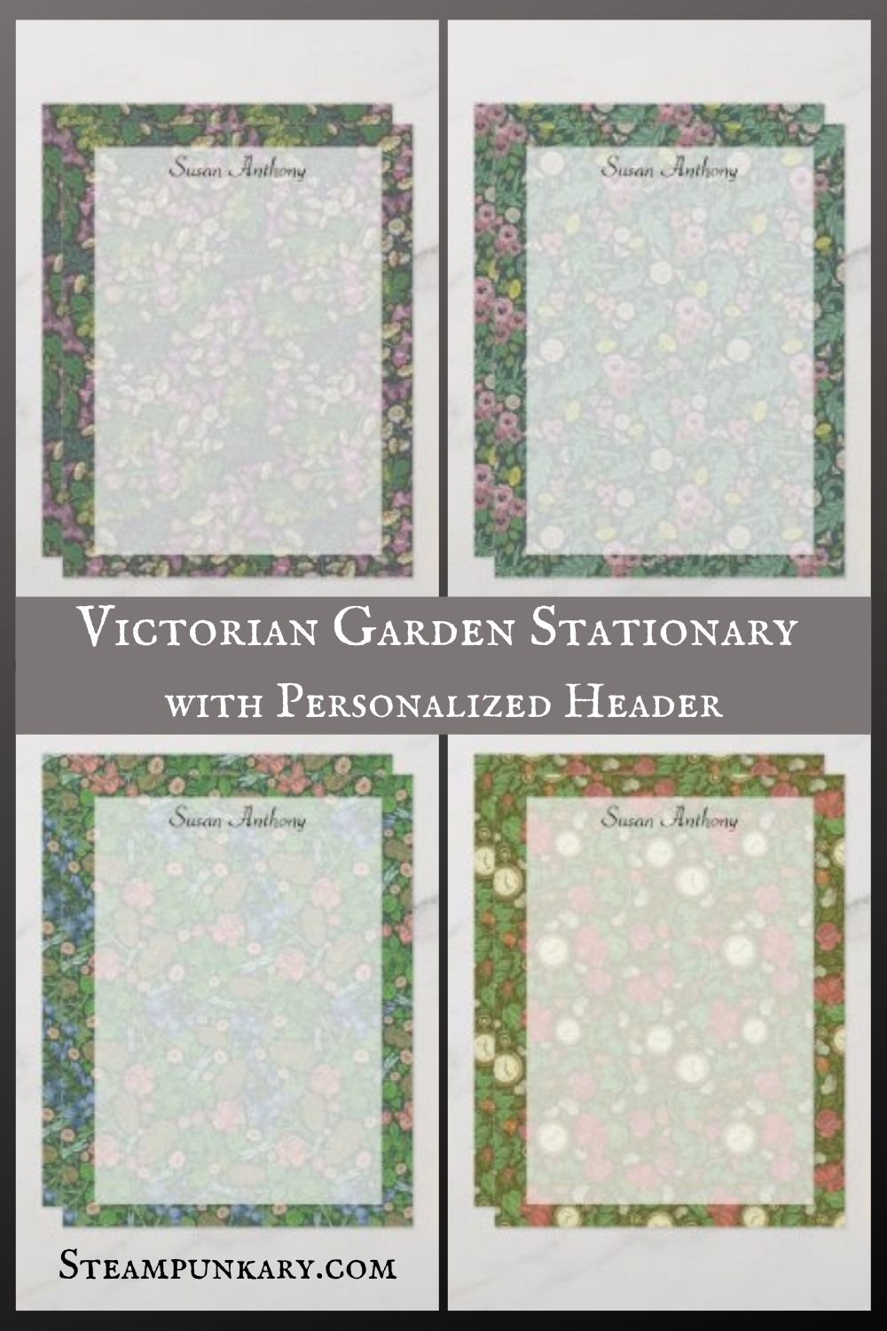 Victorian Garden Stationary with Personalized Header
