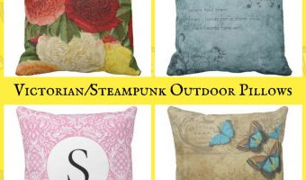 Victorian and Steampunk Outdoor Pillows for Patio or Deck