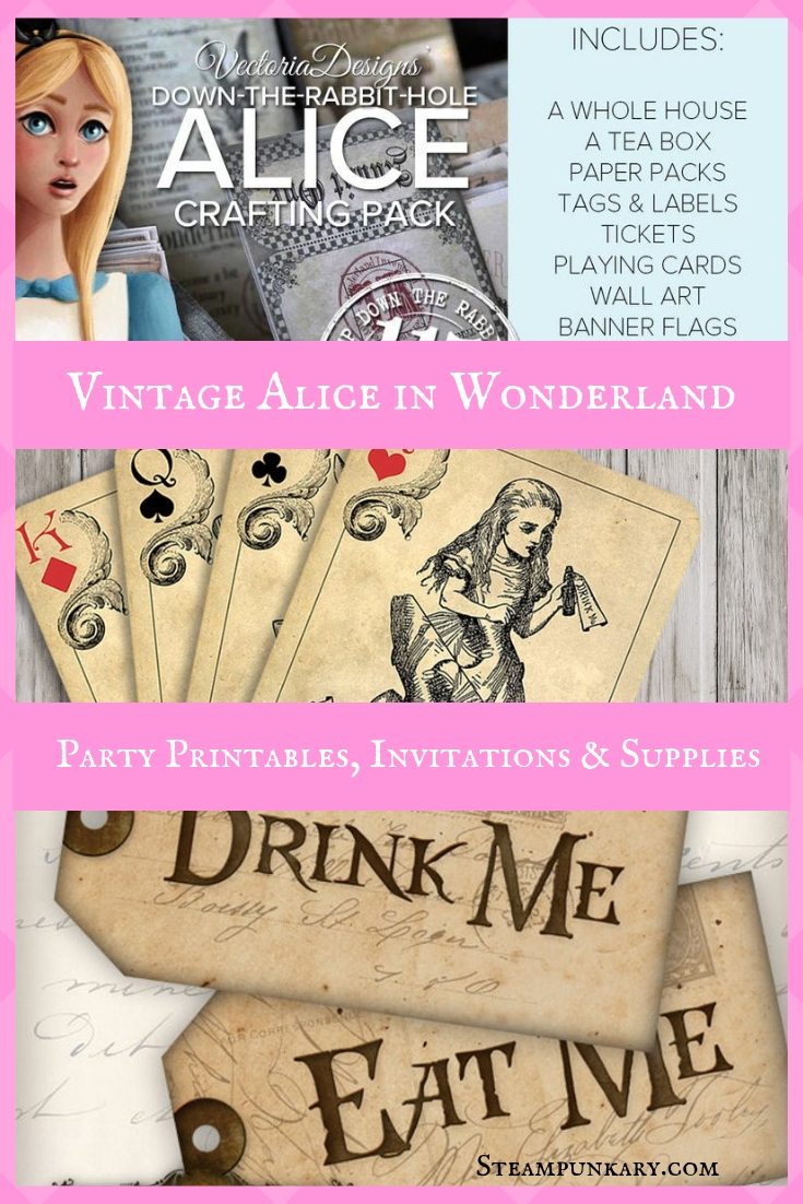 Vintage Alice in Wonderland Party Printables Invitations and Supplies