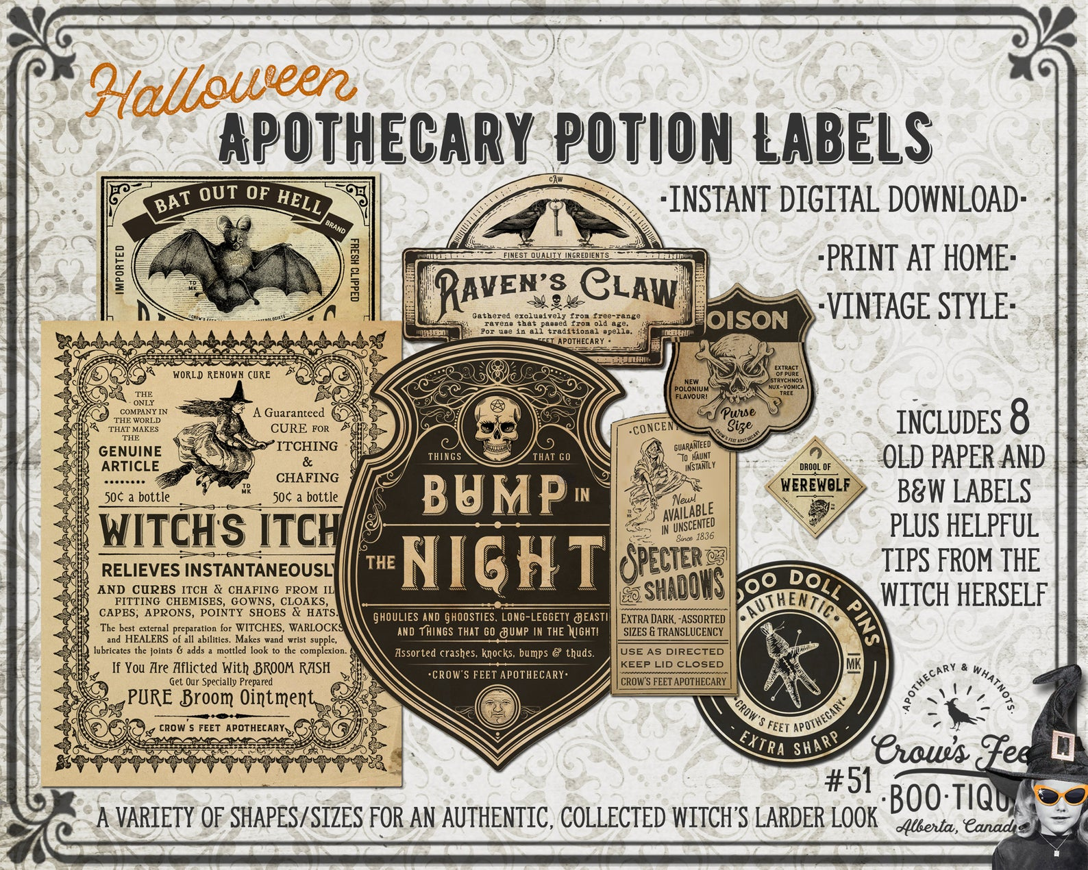 Printable Vintage-Style Apothecary Potion Labels for Halloween
