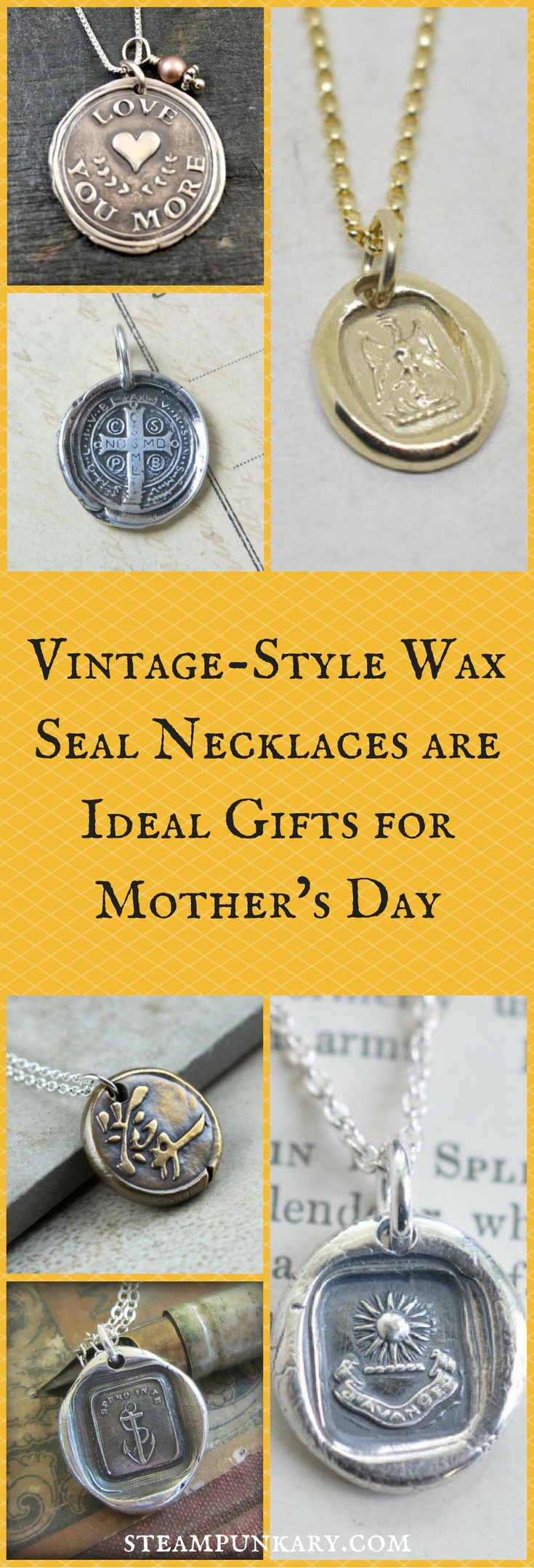 Vintage-Style Wax Seal Necklaces are Ideal Gifts for Mothers Day