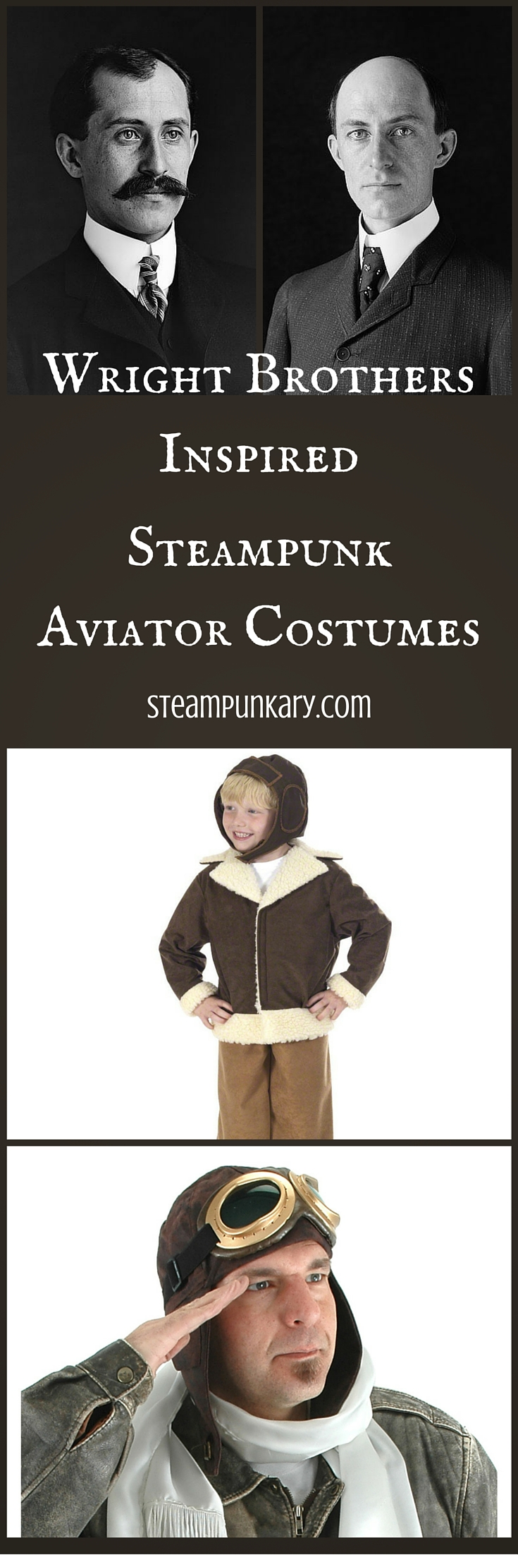 Wright Brothers Inspired Steampunk Aviator Costumes