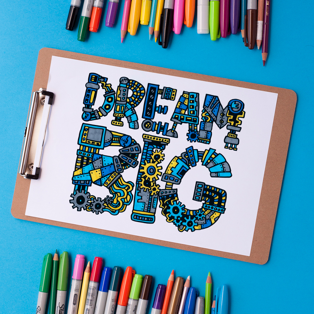 Dream Big Coloring Page