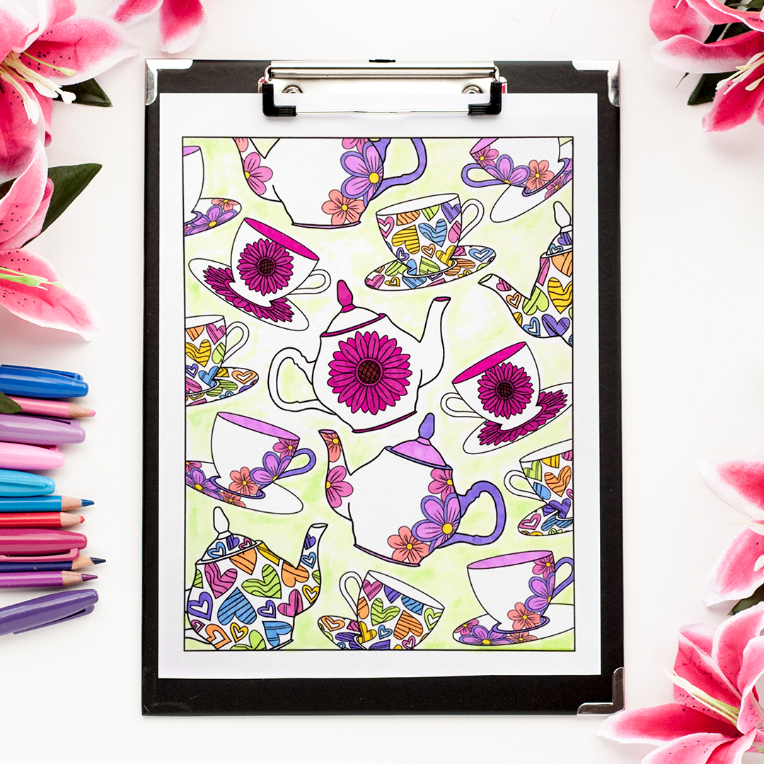Tea Party Coloring Page